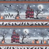 Spooky Night - Haunted House Border Stripe Black Yardage