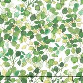 Radiance - Lacey Leaves White Yardage