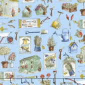 Garden Gate - Garden Assorted Blue Yardage