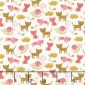 Woof Woof Meow - Kitty Shenanigans Pink Cream Yardage