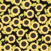Sunny Bee - Sunflowers Black Yardage