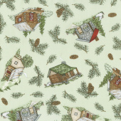 Cozy Cabin - Cabin & Pine Tossed Green Yardage