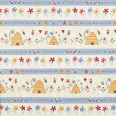 All About the Bees - Bee Border Stripe Cream Yardage