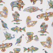 Animal Spirits - Animals Multi White Digitally Printed Yardage