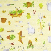 From the Garden - Garden Tool Toss Yellow Yardage
