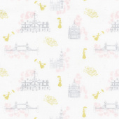 Mary Poppins - Toile White Metallic Yardage