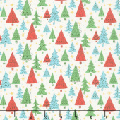 Festive Collection - Noel Forest White Metallic Yardage