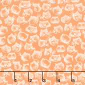 Purrfect Day - Cat Faces Melon Yardage