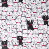 Cats - Black & White Cats White Yardage