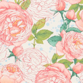 Abby Rose - Cabbage Rose Cream Yardage
