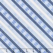 Welcome Winter - Ticking Stripe Blue Yardage