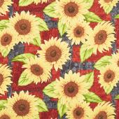 Jardin Du Soleil - Sunflower Patchwork Black Yardage