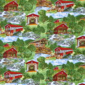 Novelty - Red Covered Bridges Multi Yardage