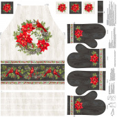 The Scarlet Feather - Cardinal Apron and Oven Mitt Digitally Printed Panel