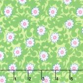 Flower Sacks - Fancy Flowers Green Yardage