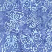 A Shore Thing Batiks - Butterflies Blue Yardage