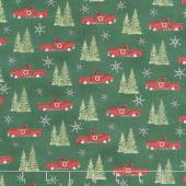 Homegrown Holidays - Trucks and Trees Holly Green Yardage