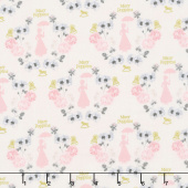 Mary Poppins - Damask White Metallic Yardage
