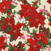 Merry, Berry, and Bright - Holiday Sparkle Radiant Vanilla Metallic Yardage