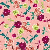Zola - Flowers & Dragonflies Light Coral Yardage