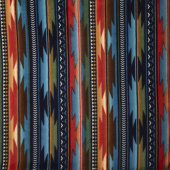 Winterfleece Prints Southwest - Sunset Stripe Blue Fleece Yardage