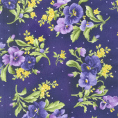 Emma's Garden - Pansy Bouquets Dark Purple Yardage