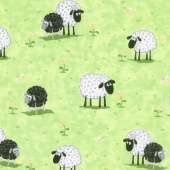 Lewe the Ewe - Sheep in Meadow Green Yardage