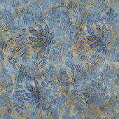 Seedlings Batiks - Large Leaves French Blue Yardage