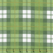 Designer Flannel - Plaid Color Green Cream Yardage