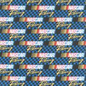 Nascar - Retro Nascar Blue Yardage