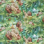 Animals - Sloths Green Yardage
