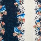 Bluebird Gathering - Bluebird Stripe Blue/Cream Yardage