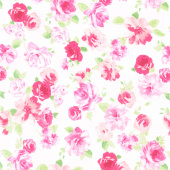 Love Pink - Roses White Yardage