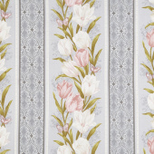 Totally Tulips - Pink & Grey Stripe Grey Multi Pearlized Yardage