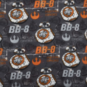 Fleece Licensed - Star Wars VII BB8 Grey Yardage
