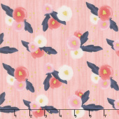 Midnight Rose - Main Pink with Gold Sparkle Yardage