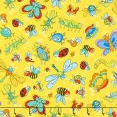 Novelty - Tossed Bugs Yellow Yardage