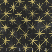 Grunge Seeing Stars - Black Dress Metallic Yardage
