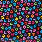 Cats - Paws Black Yardage