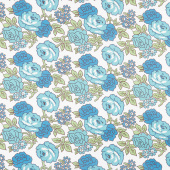 """Flea Market - Roses Blue 108"""" Wide Backing"""