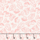 Soft & Sweet - Pink Dancing Flowers Cream Flannel Yardage