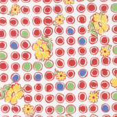 Feed Sacks: Red Rover - Bubbles & Blooms Ruby Off White Yardage