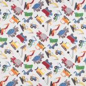 Construction Zone - Tossed Vehicles Gray Multi Digitally Printed Yardage
