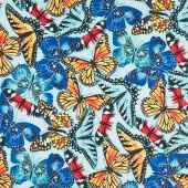 Butterfly Vortex - Large Butterfly Blue Yardage
