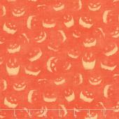 Haunted Night - Spooky Faces Orange Yardage