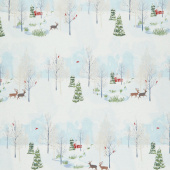 Winter Shimmer 2 - Scenic Deer Light Blue Pearlized Yardage