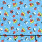 Gnome is Where Your Garden Grows - Ladybugs Blue Yardage