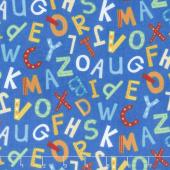 Alphabet Soup Flannel - Tossed Uppercase Blue Multi Yardage