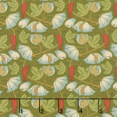 Voysey - Perching Birds 1900 Olive Yardage