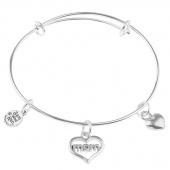 I Love Mom Charm Bangle Bracelet - Size Medium